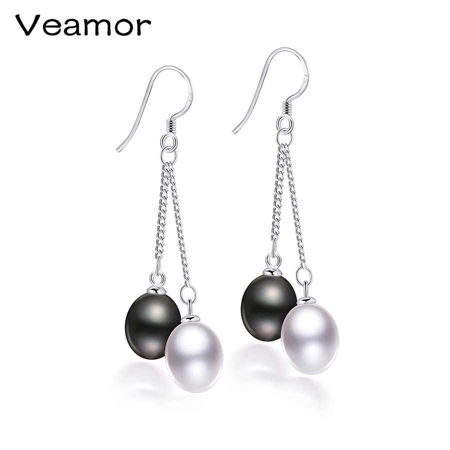 VEAMPR Double Pearl Earrings Wholesale Fashion Jewelry 100% Natural Freshwater Pearls Long Drop Earrings in Jewelry for Women