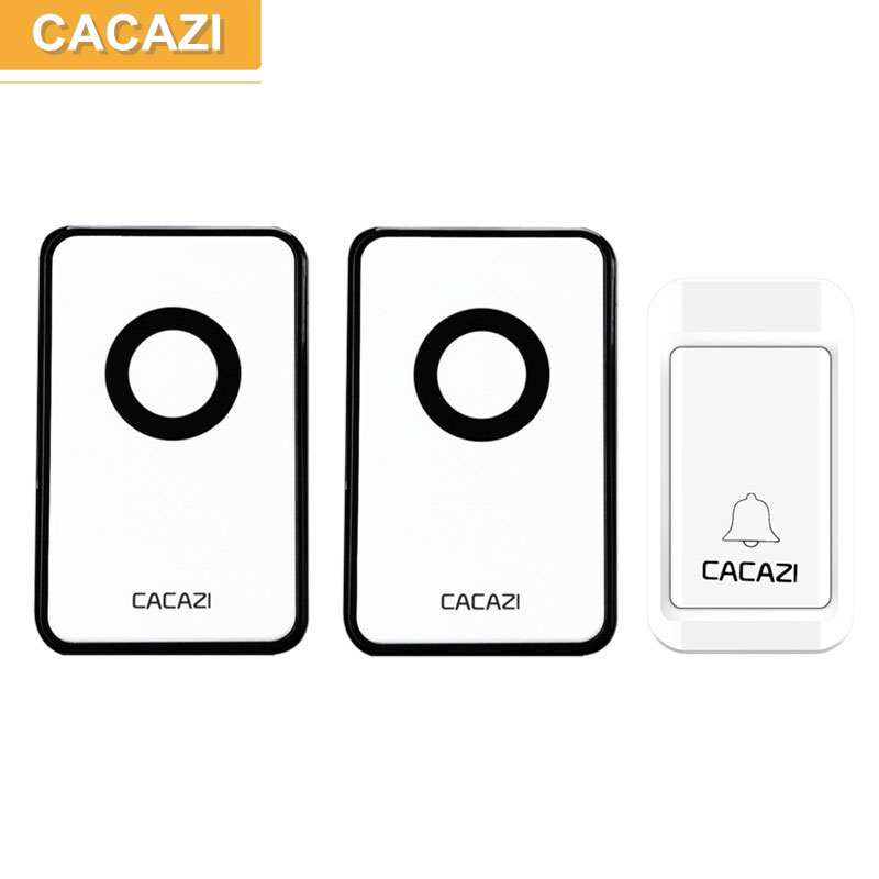 CACAZI V018G no battery wireless doorbell 1 transmitter 2 receivers,38 ringtones,3 volume,120M working range in open area 2 receivers 60 buzzers wireless restaurant buzzer caller table call calling button waiter pager system