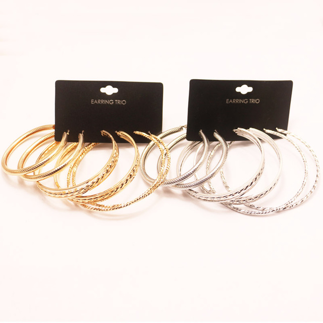 Fashion Hoop Earrings Set 50 65 75MM Gold Rhodium Plated Textured