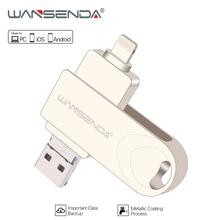 WANSENDA Metal USB Flash Drive OTG Pen Drive 16GB Flash Disk 3 in 1 Micro Usb Stick 64GB 32GB 8GB usb 3.0 Pendrive free package