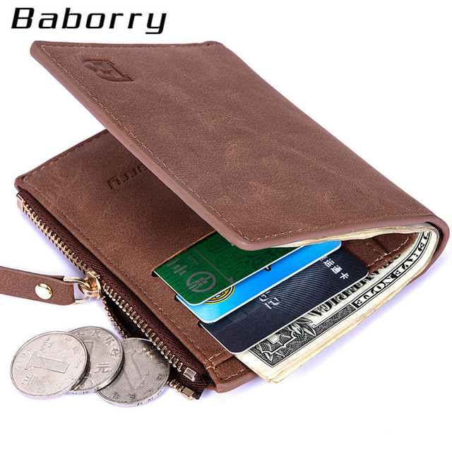 fefef71188b5ab Con Sacchetto Della Moneta della chiusura lampo degli uomini portafogli  portafoglio uomo piccolo borse di denaro