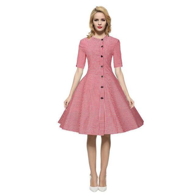Autumn Women Pleated Dress Plaid Casual Sweet Vintage ...
