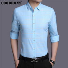 COODRONY Brand Men Shirt Autumn New Arrivals Long Sleeve Cotton Streetwear Classic Plaid Business Casual Shirts 96006