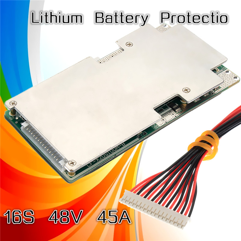 1Pcs New 16S 45A 48V Li-ion Lithium LiFePo4 Battery BMS LFP PCM Power Protection Board Integrated Circuits Board 5pcs 1s 3 7v 3a li ion bms pcm battery protection board pcm for 18650 lithium ion li battery