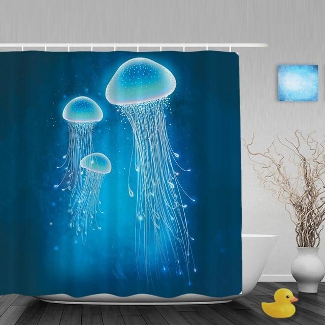 Glowing Jellyfish Underwater Bathroom Shower Curtain Sea Creatures ...