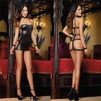 New Sexy Faux Leather Dress Erotic Lingerie Pole Dance Wear Erotic Catsuit Pvc Beyonce Dress Sex