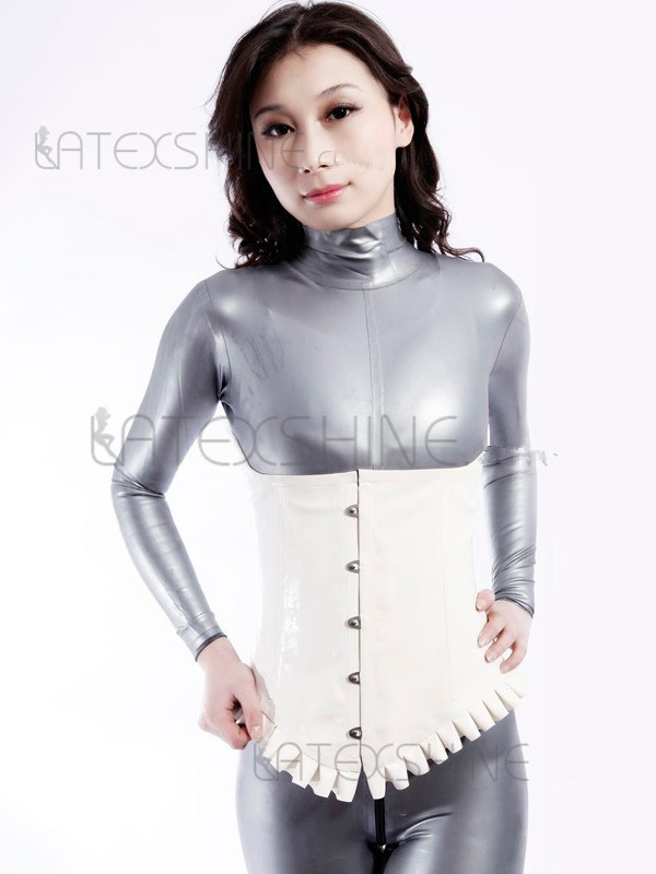 Concise White Unisex Latex Bodysuit Rubber Corset Shaper ...