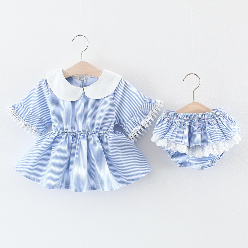 Summer Baby Girls Infants Striped Flare Sleeve Tutu Dress+PP Shorts Bloomers Diaper Cover Pant 2pcs Princess Clothing Sets S5037 ...