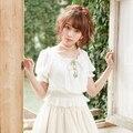 Blanco/Rosa/Sky azul marino 2016 verano nueva marca Japón dulce femenina de la corto-manga de la Camiseta de las mujeres de moda delgada cintura suelta mini tops