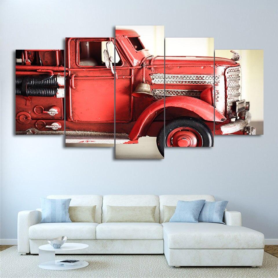 HD печатных украшения дома холсте Modern 5 Панель пожарной машины красный автомобиль для Гостиная стены Книги по искусству плакат Фотографии Жи...