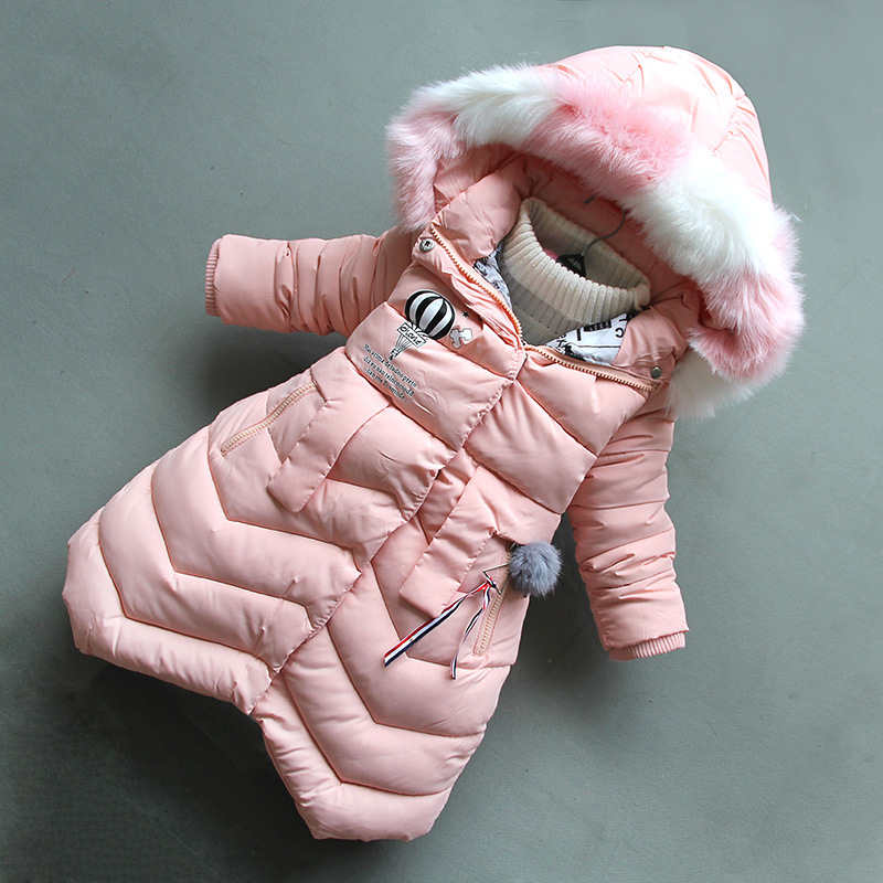 BibiCola 2018 Girls Fashion Winter Coat Long Down Jackets Hooded Warm Thickening Collar Snow Suit For 4-8T Baby Girl Clothes 2016 new design family clothes baby girl print baggy coat fashion long sleeve stand collar europe and america baseball jackets
