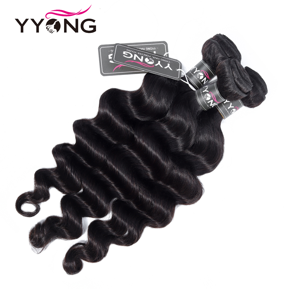 Yyong Hair 3 / 4  Loose Deep Wave Bundles With Closure 100%   Bundles With Lace Closure Can Be Dyed 3