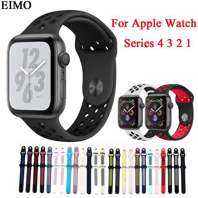 317247cca8a EIMO Silicone Strap for Apple Watch 4 44MM 40MM 42MM 38MM Nike Sport Band  iwatch 4 3 2 1 Bracelet Wrist Belt Rubber Watchband