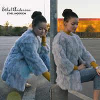 Ethel Anderson Natural Fur Coat O-Neck Thin Long Real Rabbit Fur Coat Genuine Full Pelt Fur Jacket Women's Rabbit Fur Outwear