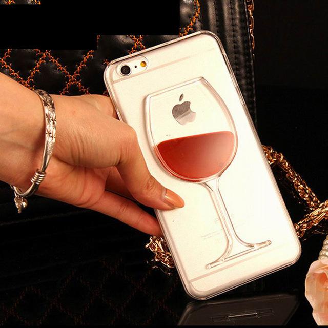 Red Wine Glass Liquid Quicksand Phone Case For iPhone 4 4S 5 5S 5C 6 6S 7