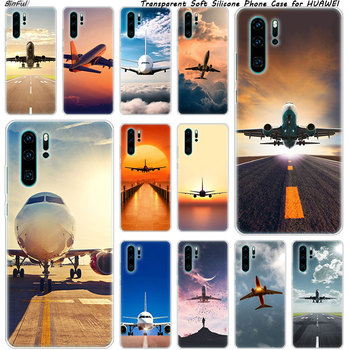 Hot Airplane Departure Soft Silicone Phone Case for Huawei P30 P20 Pro P10 P9 P8 Lite 2017 P Smart Z Plus 2019 NOVA 3 3i Fashion image
