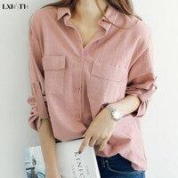 2018 여성 코튼 셔츠 긴 소매 포켓 한국 블라우스 화이트 핑크 화려한 블라우스 레이디 탑 작업