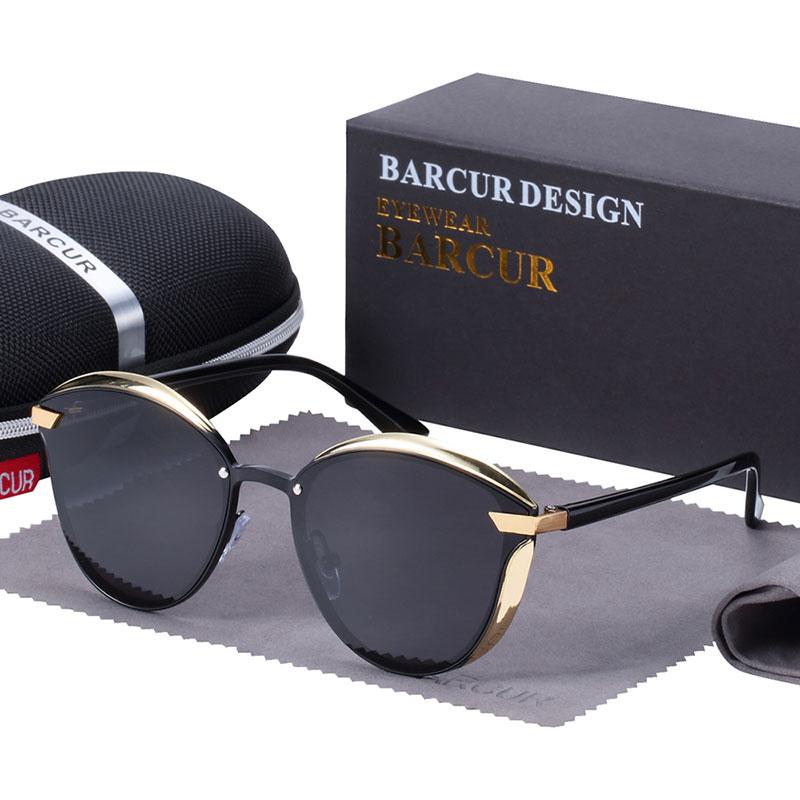 BARCUR Luxury Polarized Sunglasses Women Round Sun glassess Ladies lunette de soleil femme 12