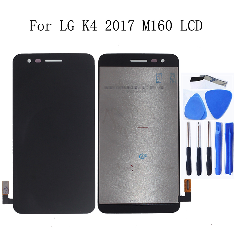 5.0-inch Original For <font><b>LG</b></font> K4 2017 <font><b>M160</b></font> <font><b>LCD</b></font> Display Touch Screen with Frame Glass panel Repair Kit Replacement Phone Parts+Tools image