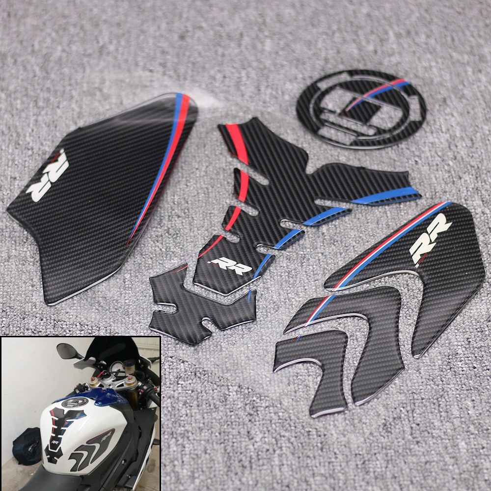 New Carbon Fiber 3D ADESIVI Sticker Decal Emblem Protection Tank Cover Pad Cas Cap For BMW S1000RR S1000R S1000 RR HP4