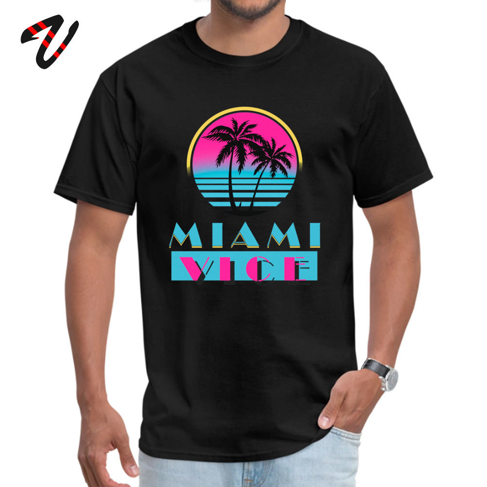 Miami Vice Round Collar T-Shirt Labor Day Custom Tops T Shirt Hate Sleeve 2019 Newest Milan Black Clothing Shirt Men