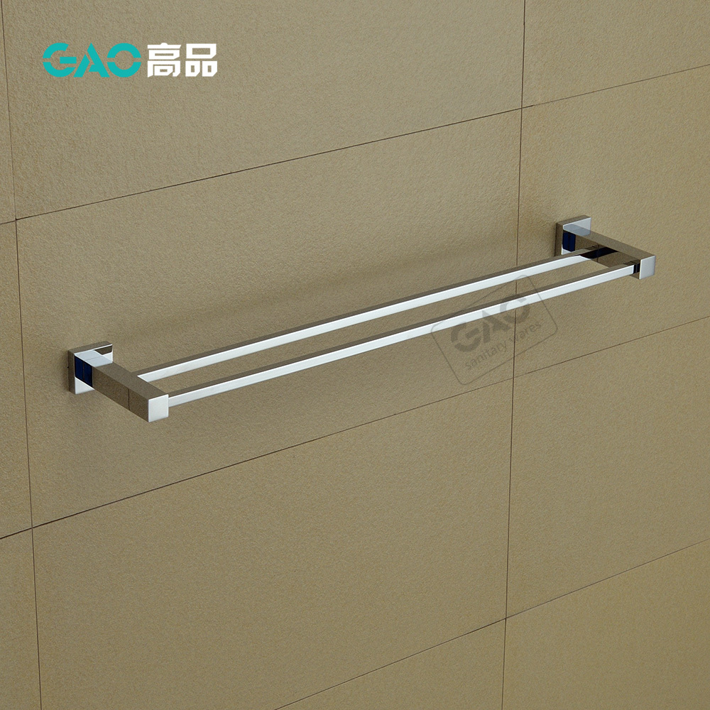 Free Shipping Double Towel Bar,Towel Holder,Solid Brass Made,Chrome Finish, Bathroom Accessories Square Towel Bar 60CM Length okaros bathroom double towel bar 60cm towel rack towel holder solid brass golden chrome plating bathroom accessories
