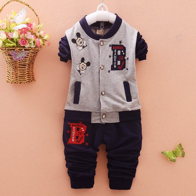 Baby Boy Girls Spring Clothing Set 1 2 Years Old Infant Baby Toddler Denim Jacket Long Sleeve -2196