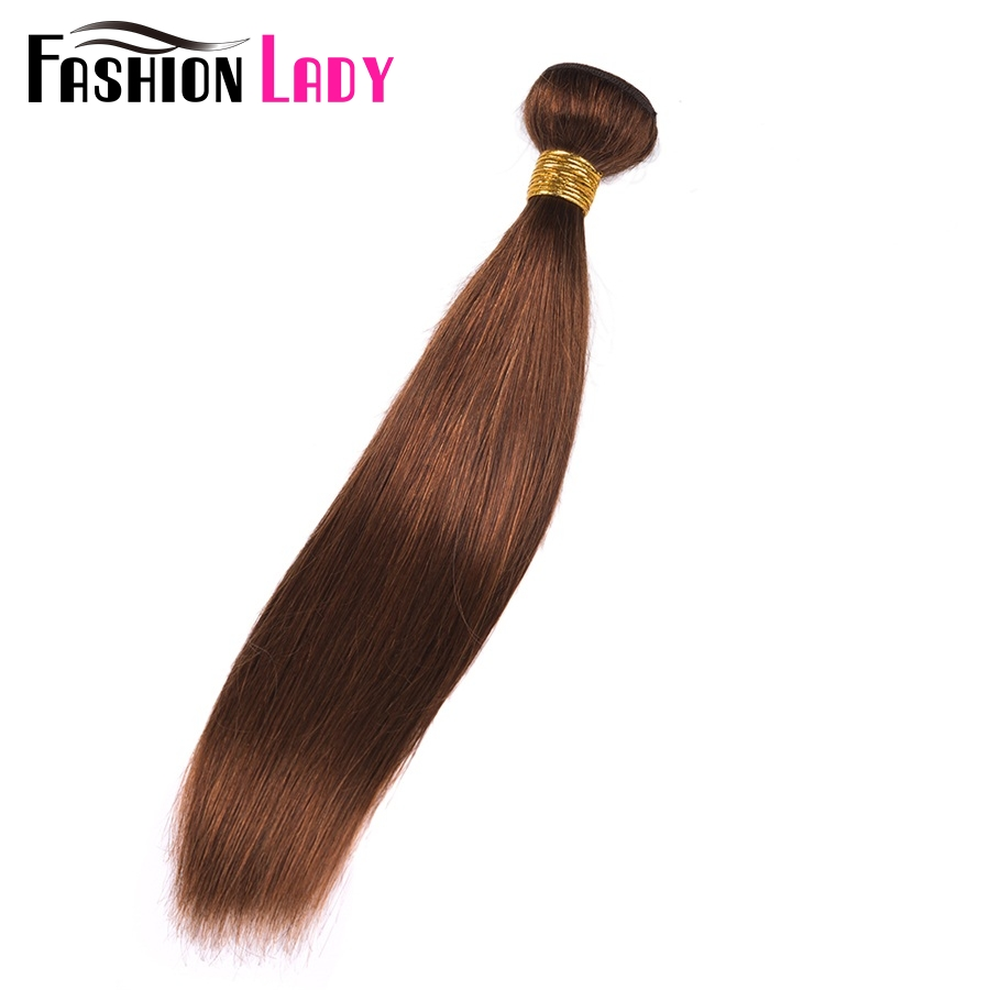 FASHION LADY Pre-Colored 100% Human Hair Weave #4 Medium Brown One Piece Peruvian Straight Hair Human Hair Weft Non-Remy