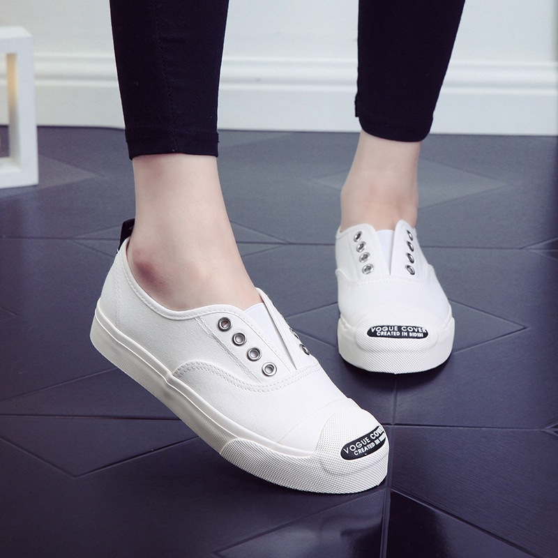 2018 New Women Canvas Shoes Slip on Loafers White Black Solid Color Casual Shoes Preppy Style Girls Sneakers Round Head 35-40 цена 2017