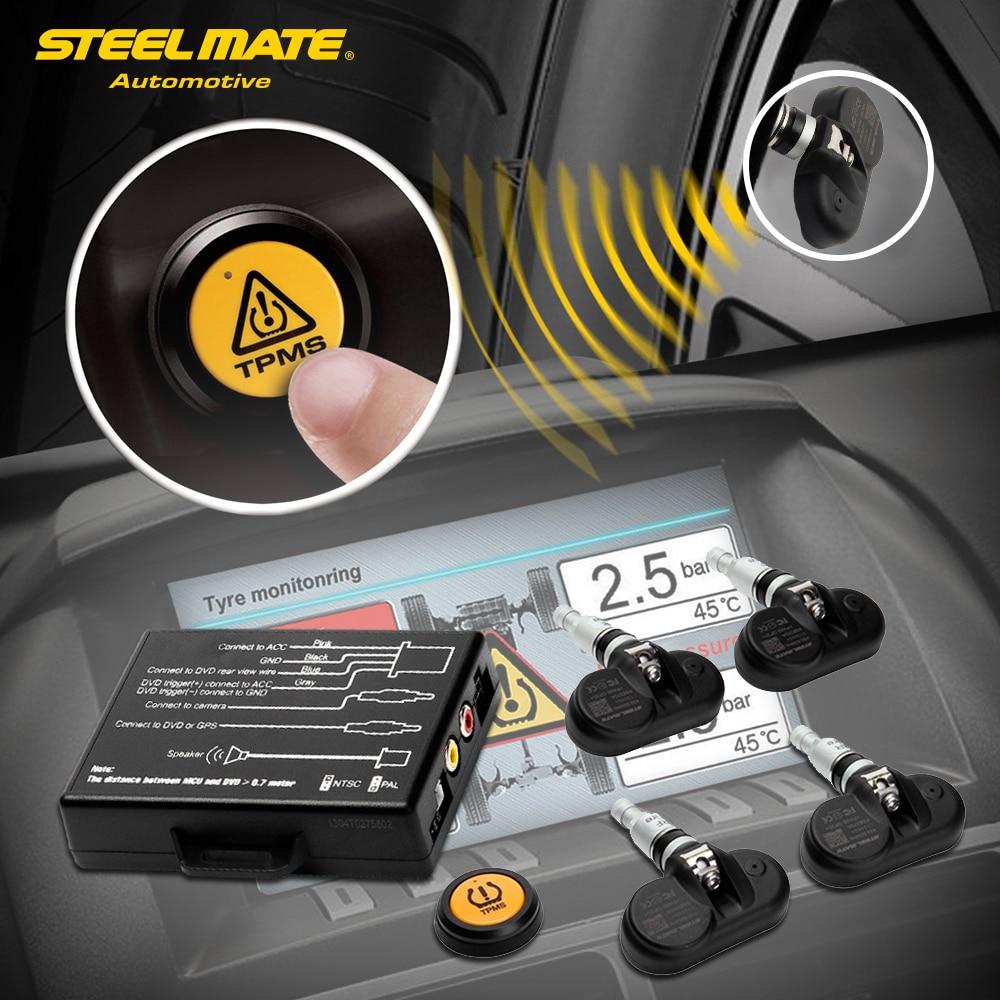 steelmate tp  tpms tire pressure monitoring system   dash av monitor  remote button