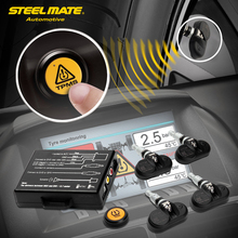 Steelmate TP-05 TPMS Tire Strain Monitoring System for in-dash A/V Monitor with Distant Button Four Skilled Inner Sensors