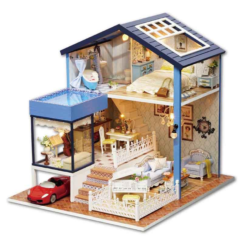Leuke kamer poppenhuis miniatuur diy poppenhuis met meubels 3d houten - Poppen en accessoires