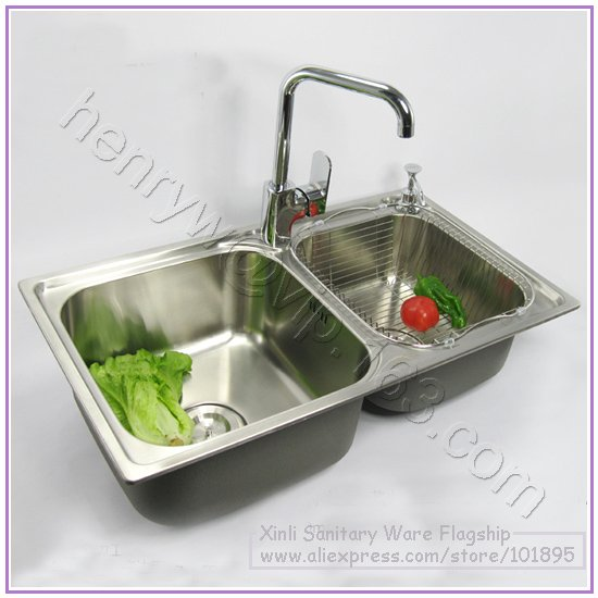 Retail Luxury Sus304 Stainless Steel Kitchen Sink With Faucet Brushed Double Bowel Drainer Angle Valve Free Shipping L16255