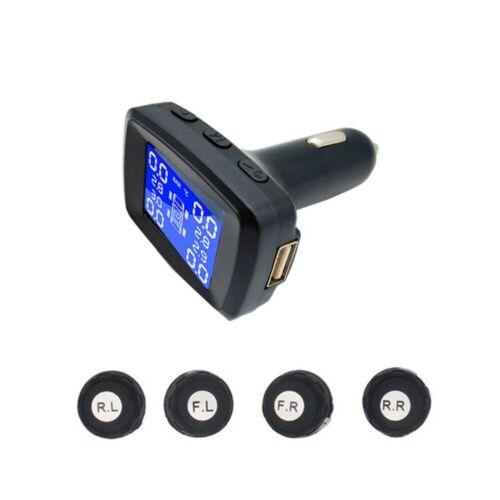 TPMS Solar Wireless Tire Pressure LCD Monitoring System W 4 External Sensor XIU