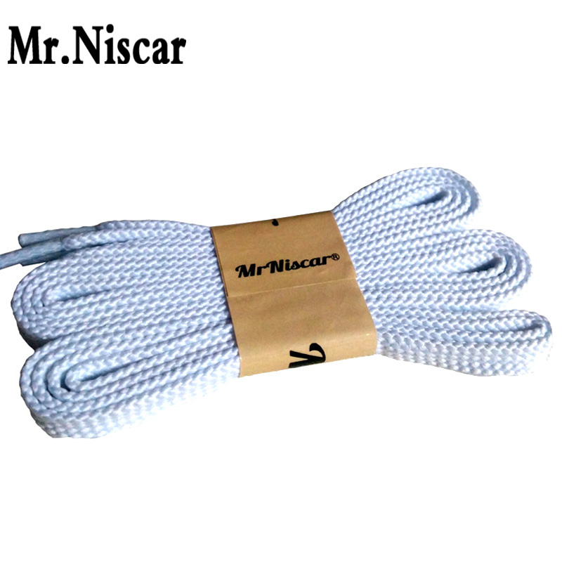 Mr.Niscar 1 Pair Hot Sale White Polyester Flat Shoelaces Men Women Casual Sneaker Brand Running Shoe Laces 28 Color Strings Rope mr niscar 10 pair gray striped casual flat shoe laces fashion polyester shoe string men women athletic running shoelaces