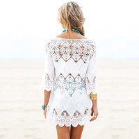 Kmnovo Bikini Cover Up Openwork Flower Beach Coat Swimsuit Cover Ups Lace Beachwear Sun Protection Clothes