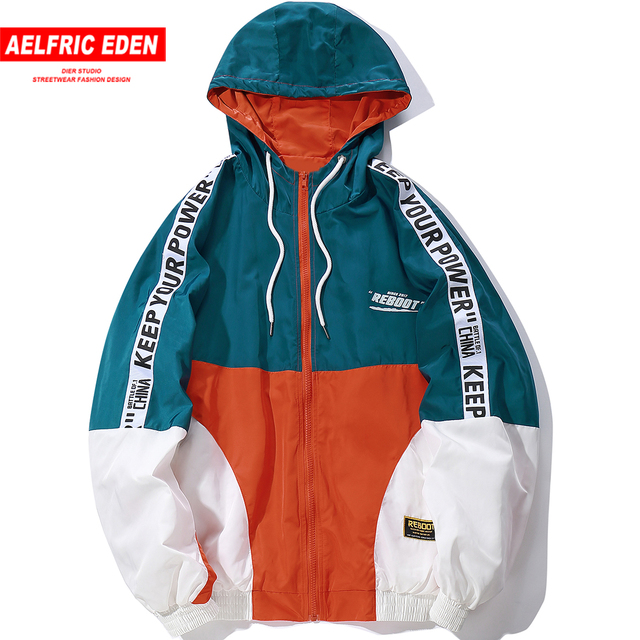 Aelfric Eden Mens Hooded Windbreaker Jackets Autumn 2018 Vintage Hip Hop Color Block Track Jacket Coats Casual Streetwear KJ320