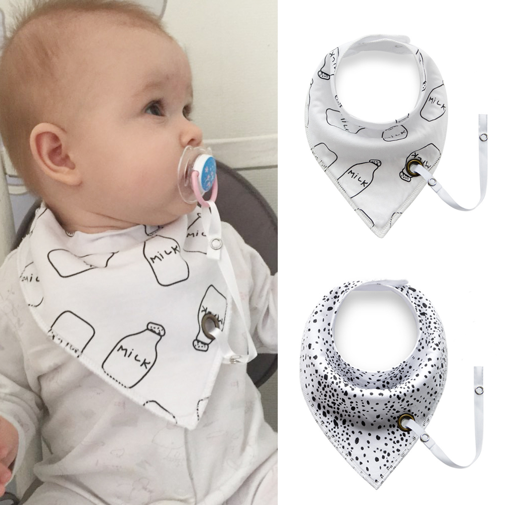 4Pcs Baby Bibs Baberos Triangle With Pacifier Chain Infant Waterproof Neckerchief Infant Toddler Burp Clothes Feeding Scarf Bib