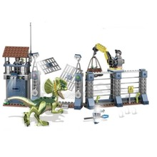 Building Blocks Compatible With Legoings 75931 Jurassic World Dinosaur Bricks Dilophosaurus Outpost Attack Toys For Children new jurassic dilophosaurus flee dinosaur world lepins building block figures motorcycle base bricks educational toys for gifts