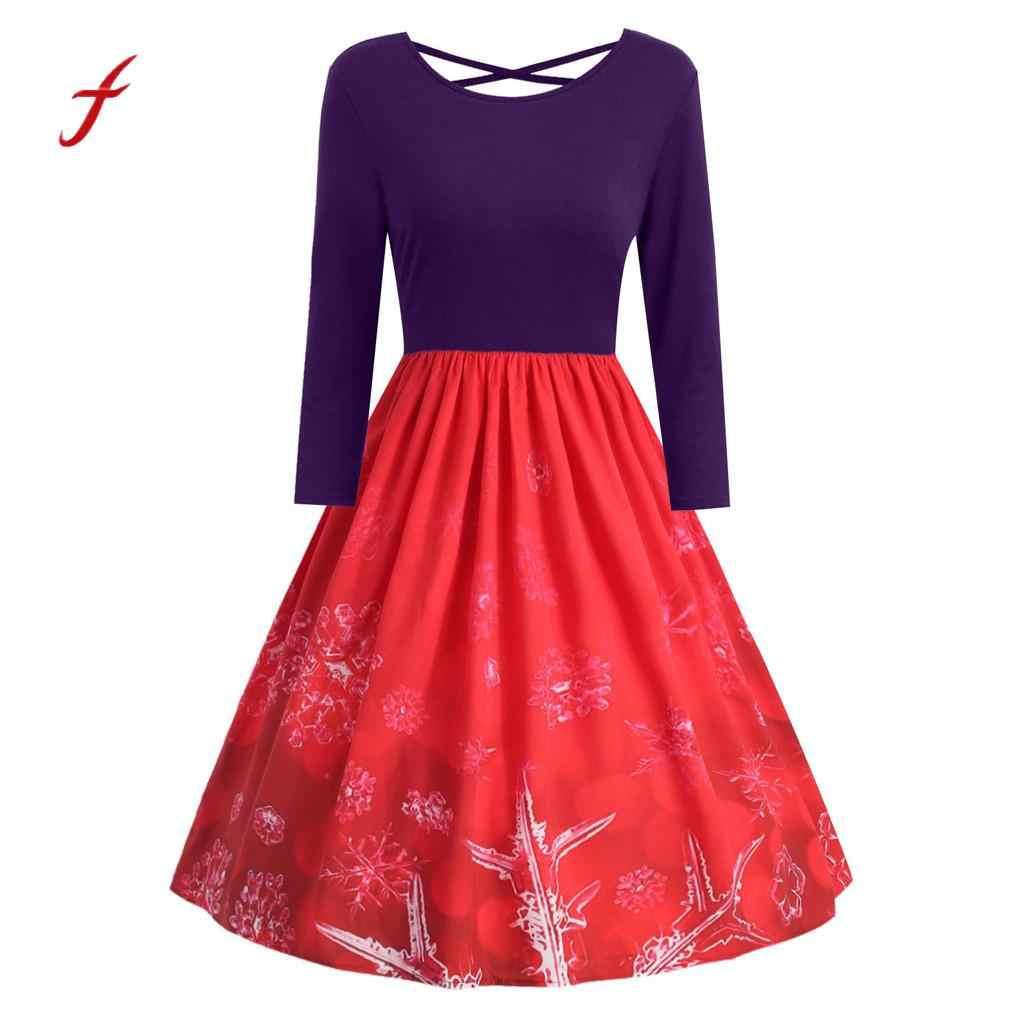 f006f2510c6 Plus Size Backless Dress Vintage Women Christmas Print Long Sleeve Cross  Bandage Party Swing Dress vestidos