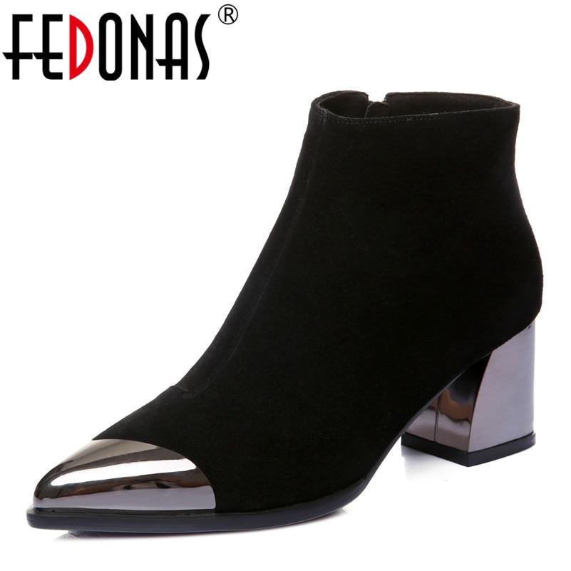In Fedonas1fashion Scarpe Inverno Caviglia Pelle Donne Metallo Mucca Donna  Elegante Stivali Decorazione Autunno Il Alti ... cb7c1159a09
