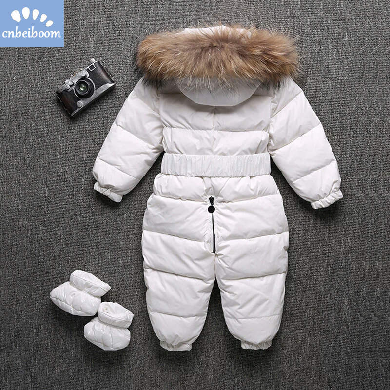 30 Degree Kids Snowsuit Real Raccoon Fur Duck Down Romper Child Winter Clothes