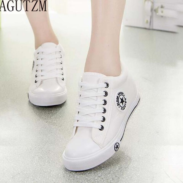 e9bf59c620c10 AGUTZM Summer Sneakers Wedges Canvas Shoes Women Casual Shoes Female Cute  White Basket Stars Zapatos Mujer Trainers V137