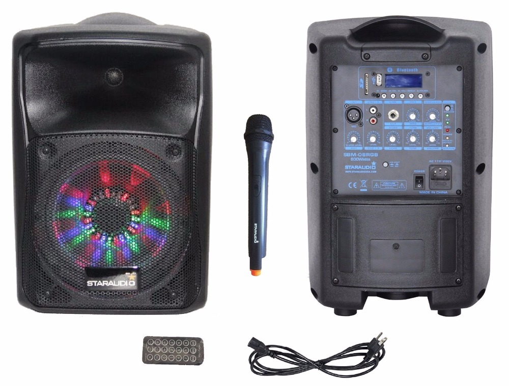 STARAUDIO 800W 8Professional Stage Karaoke PA DJ BT Powered Active Rechargeble Battery USB SD Speaker UHF Mic RGB LED Lighting
