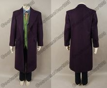 High Quality Batman the Dark Knight Joker Movie Cosplay Costume 5pcs Set Purple Trench Coat+Vest+Shirt+Pant+Tie