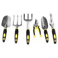 Quality 6PCS/Set Gardening Tool Set for Digging Planting Gardening Kit with Heavy Duty Cast aluminum Heads & Ergonomic Handles