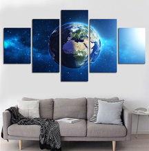 5 Panel Space Canvas Art Sunrise Painting Of Earth Universe Picture Home Decoraction For Room Outer Poster Cosmos Unframed