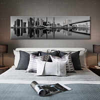 HD Prints Pictures Black White Brooklyn Bridge City View Canvas Painting Home Wall Art Decor Poster