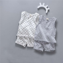 Cotton Infant Newborn Baby Boys Girls Summer Clothing Sets Star Tree Print Tank tops and Shorts 2 pcs Suits Outfits
