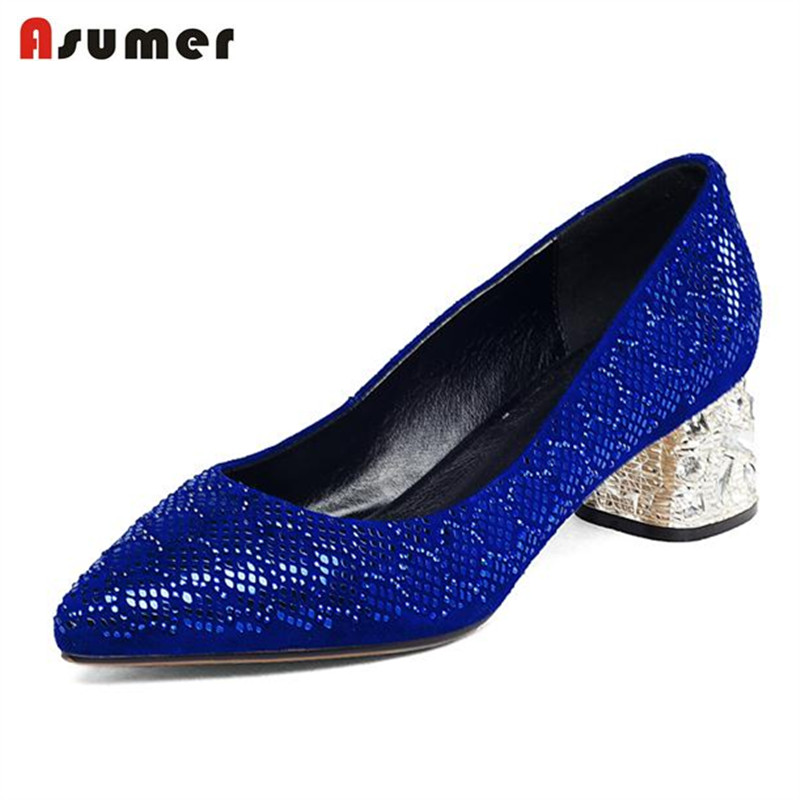 Asumer Large size 33-43 women shoes solid med heels shoes genuine leather spring autumn fashion sexy party shoes pumpsAsumer Large size 33-43 women shoes solid med heels shoes genuine leather spring autumn fashion sexy party shoes pumps